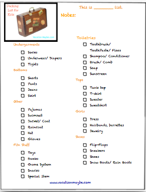 Packing List For Kids Vacationmaybe Com