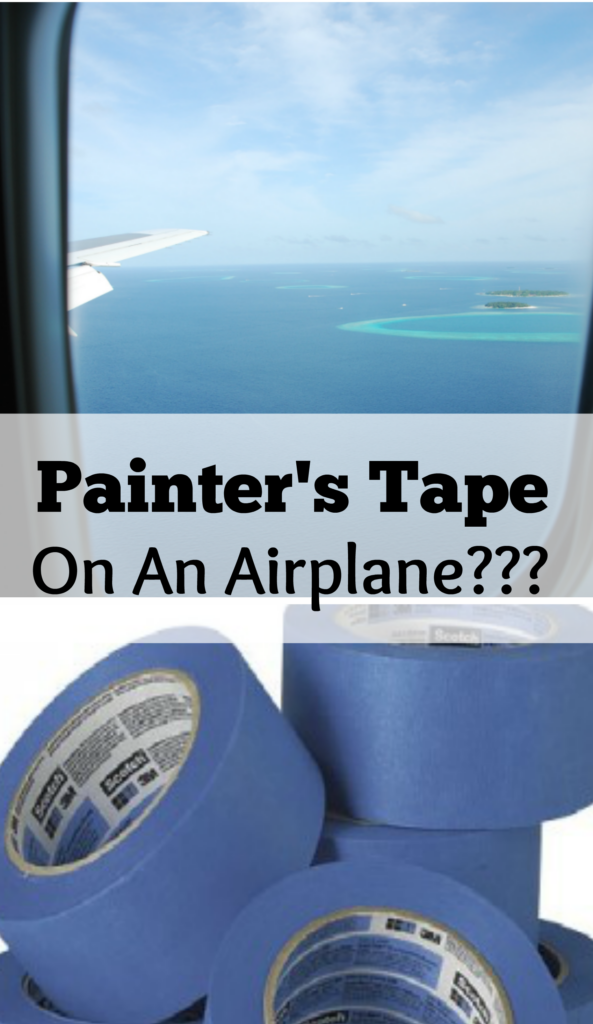 use painter's tape to keep kids entertained on a  long flight