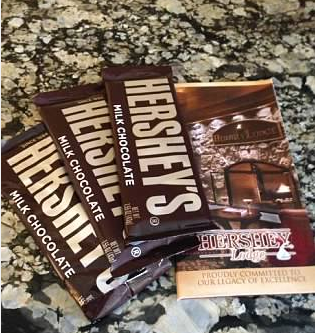 hershey park hotel complimentary candy bars hershey, pa