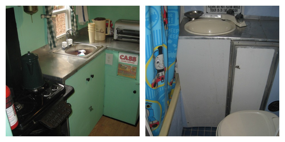 Inside the caboose camper. Take a peek at the kitchen and bathroom