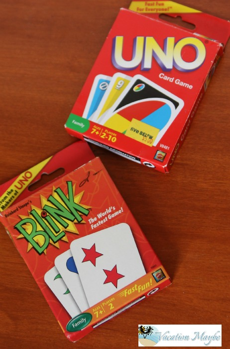Uno and Blink make great travel games