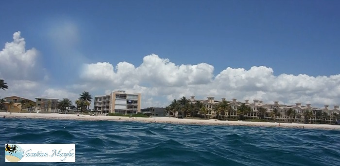 View from the ocean of the shoreline of Lauderdale By The Sea