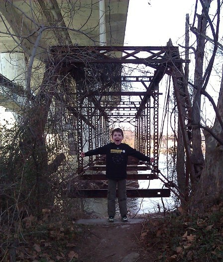 Hiking Belle Isle, view of a trestle bridge