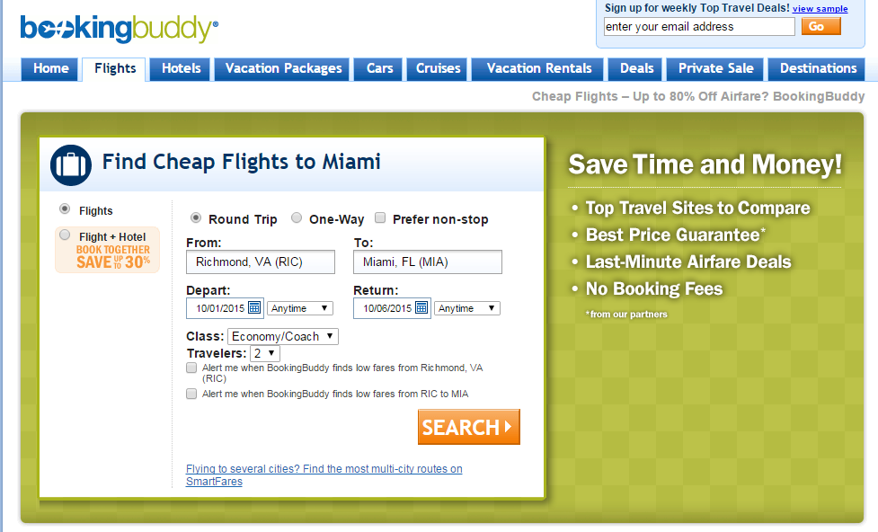 Booking Buddy enter your destination and travel dates