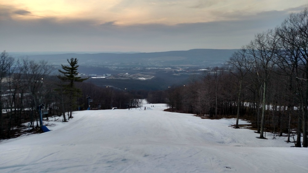 Beautiful view of the Poconos Mountains in Pennsylvania from the top of the slopes at Montage Mountain
