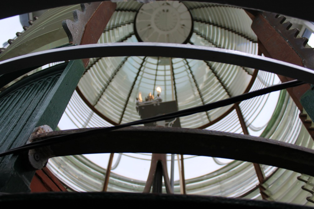 Looking into the lens at the Tybee Island Light House