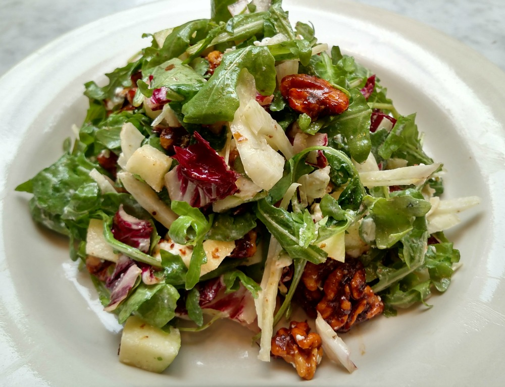 Fresh chopped apple walnut gorgonzola salad from Mangia