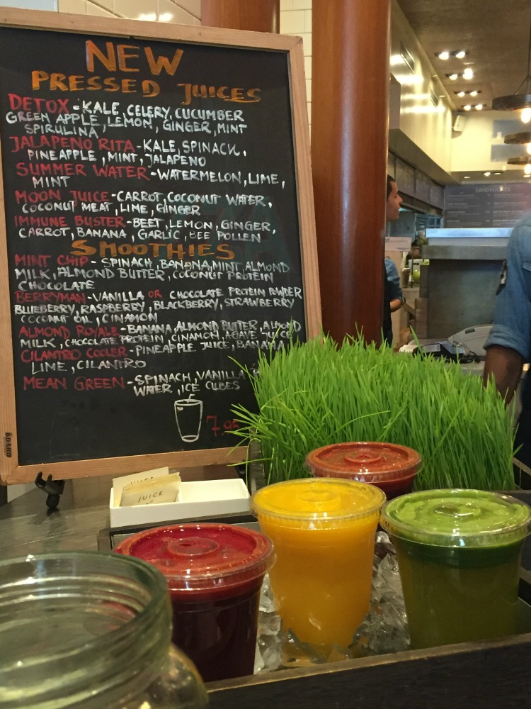 You are greeted by the well stocked Juice bar at Mangia
