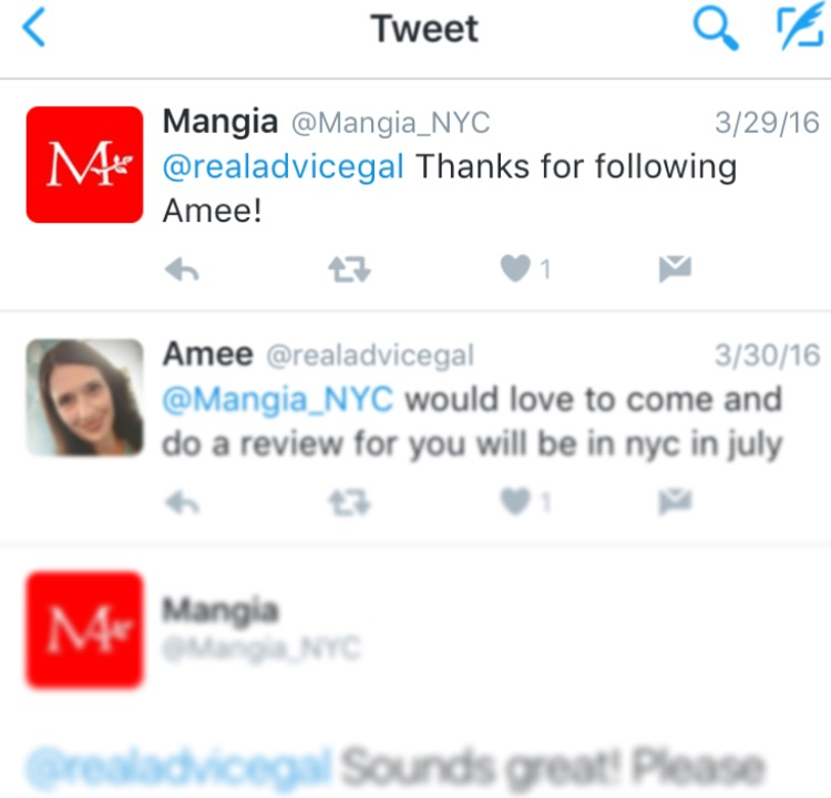 Chatting with Mangia and connecting through Twitter. Social media is a wonder.