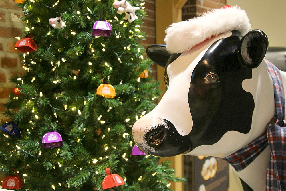 During the holiday season the Turkey Hill Experience is decorated with beautiful tress and festive cows