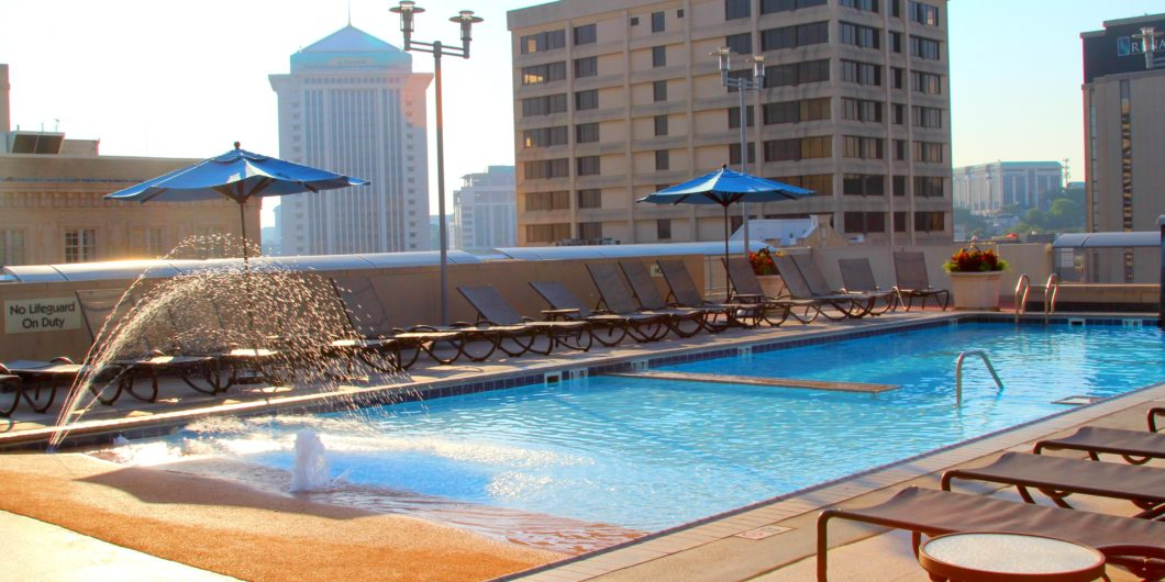 The beautiful rooftop pool at the Renaissance Hotel and Spa