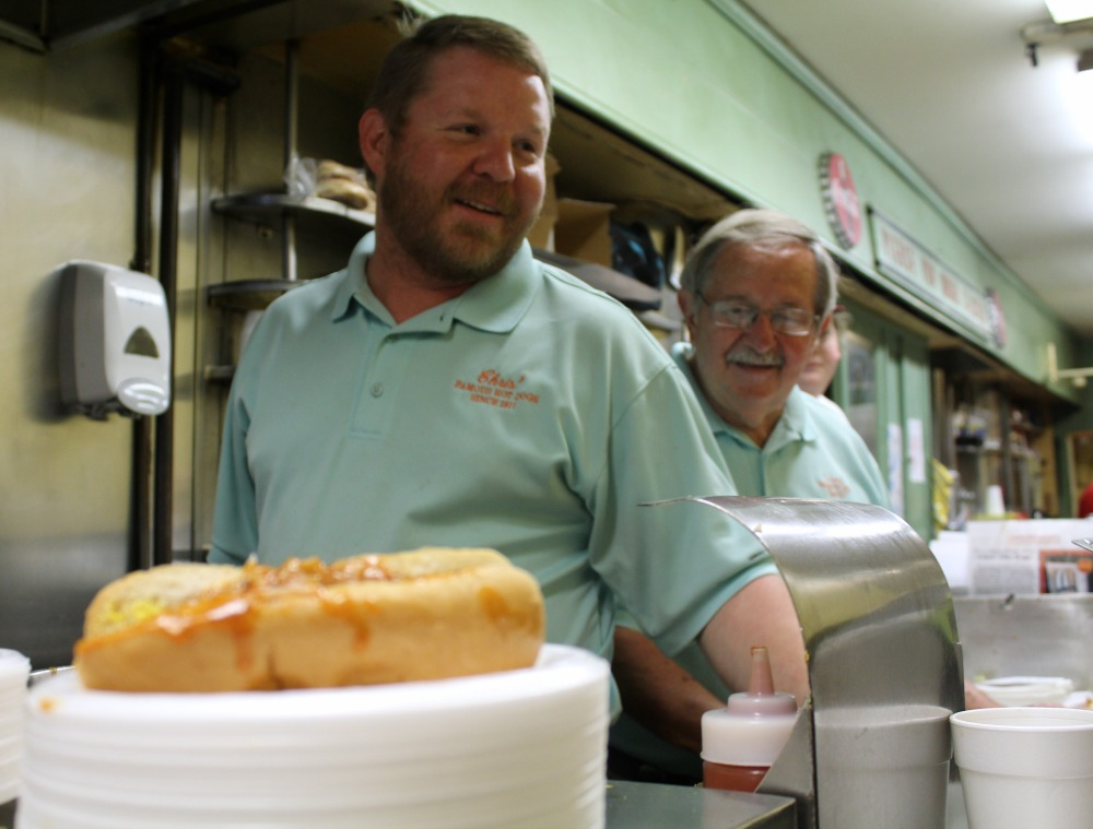 The father and son duo of Gus and Theo are second and third generation owners of Chris hotdogs
